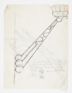 Design for a wall-mounted sconce intended to be executed in metal, the mount made up of three hook shapes attached to rods, which connect to the lantern above. Additional sketches on the sheet depict ornamental elements.