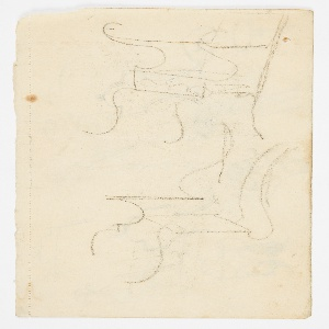 Horizontal orientation. Several sketches for seatback and chair splats in a variety of ornamental styles. Verso: Vertical orientation. Two sketches for chair designs.
