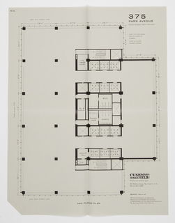 "Proposed floor plan for Seagram's Building, 26th floor. Printed text, upper right: 375 / PARK AVENUE / Easterly blockfront, 52nd to 53rd streets / MIES VAN DER ROHE / PHILIP JOHNSON / Architects / KAHN & JACOBS / Associate architects; lower right: CUSHMAN & WAKEFIELD, INC / Renting and managing agent / 281 Madison Avenue, New York 17, N. Y. / MUrray Hill 6-4200 / SCALE: 1/8""=1'0"" / All areas and dimensions are approximate. / Measurements and Rentable Area according / to Standard Method of Floor Measurement approved by / The Real Estate Board of New York, Inc."