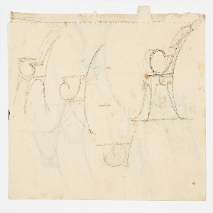 Three designs for chairs intended to be executed in metal, each shown in profile view facing left with dramatic curling arms. At lower center, a sketched detail of the curving arm. Verso: five designs for chairs. Three at left rendered in profile show different leg and apron options. At right, two more complete designs in three-quarter view show two versions of a geometric splat.