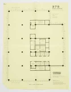 """Proposed floor plan for Seagram's Building floor plan, 29-38th floors.  Printed text, upper right: 375 / PARK AVENUE / Easterly blockfront, 52nd to 53rd streets / MIES VAN DER ROHE / PHILIP JOHNSON / Architects / KAHN & JACOBS / Associate architects; lower right: CUSHMAN & WAKEFIELD, INC / Renting and managing agent / 281 Madison Avenue, New York 17, N. Y. / MUrray Hill 6-4200 / SCALE: 1/8""""=1'0"""" / All areas and dimensions are approximate. / Measurements and Rentable Area according / to Standard Method of Floor Measurement approved by / The Real Estate Board of New York, Inc."""