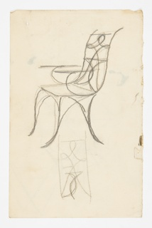 Design for a chair intended to be executed in metal with curving legs, openwork seatback, and straight arms. Below, a sketch of the seatback design. Verso: triangular sketches.