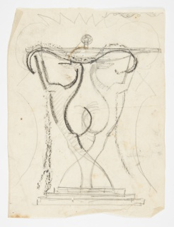 Design for a console table intended to be executed in iron. Two elongated hounds standing on their hind legs form the base of the table, their outstretched hands supporting the table top.