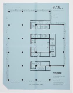 "Proposed floor plan for Seagram's Building, 12th-15th floors. Printed text, upper right: 375 / PARK AVENUE / Easterly blockfront, 52nd to 53rd streets / MIES VAN DER ROHE / PHILIP JOHNSON / Architects / KAHN & JACOBS / Associate architects; lower right: CUSHMAN & WAKEFIELD, INC / Renting and managing agent / 281 Madison Avenue, New York 17, N. Y. / MUrray Hill 6-4200 / SCALE: 1/8""=1'0"" / All areas and dimensions are approximate. / Measurements and Rentable Area according / to Standard Method of Floor Measurement approved by / The Real Estate Board of New York, Inc."