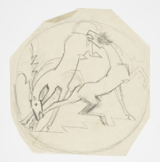 Design for a trivet. Within circular frame, two bucking horses biting each other at the ankle and rear.