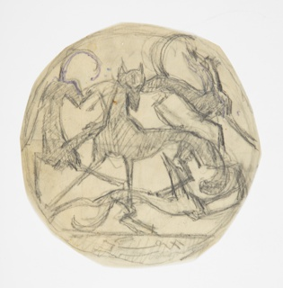 Design to be executed in iron. A group of hounds, with a fox at the center facing forward, surrounding it. A hare is running along the lower margin of the composition.