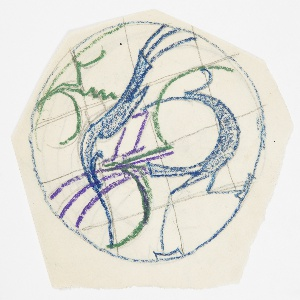 Within a circular frame, two blue and green birds intertwined. Graphite grid lines in background.