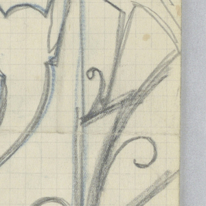 Design for ornamental stair rail to be executed in iron, the decoration formed by seated and standing hounds.
