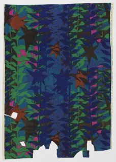 Overlapping kelp-like foliage print with brown, royal blue, green, rust, pink, and teal.