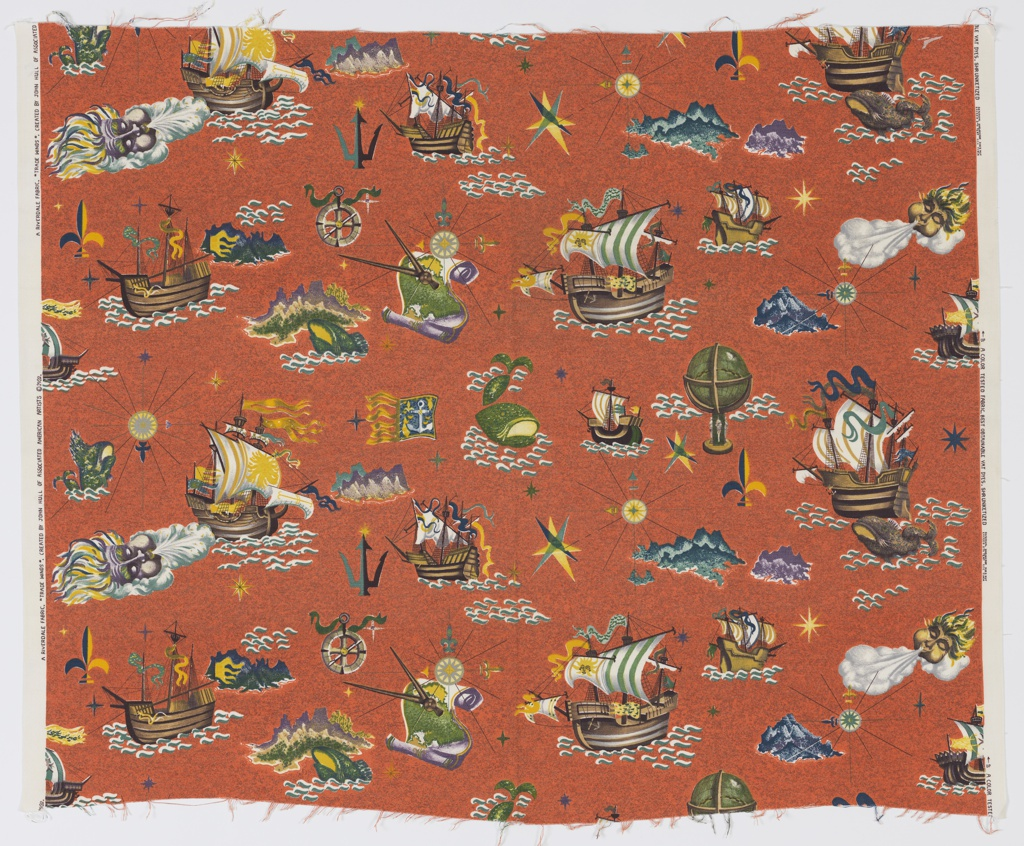 "Yard goods; a Riverdale Fabric, ""Trade Winds"" designed by John Hull of Associated American Artists, 1952."