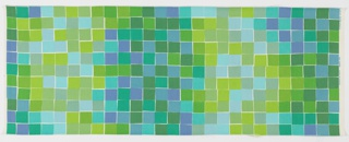 Uneven squares in a tile-like pattern of green and blue tones with irregular white borders.
