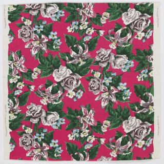 Printed cotton yard goods sample with six small swatches of other colorways sewn to the back. Hot pink ground with dark green leaves around roses and lilies in shades of blue, yellow-green, and dark brown. Other flowers in pink, off-white, pink-beige and yellow-green.