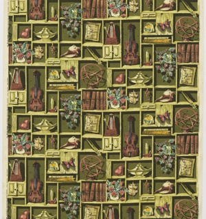 "Yard goods; a Riverdale Fabric, ""Treasure Trove"" designed by William Ward Beecher of Associated American Artists, 1952."