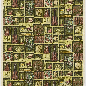 """Yard goods; a Riverdale Fabric, """"Treasure Trove"""" designed by William Ward Beecher of Associated American Artists, 1952."""