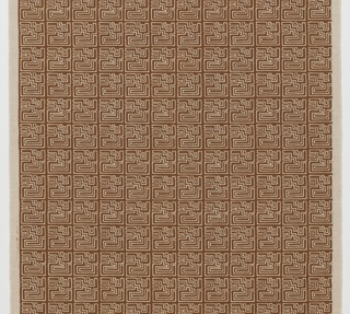 Unbleached linen printed with an Aztec motif in brown.