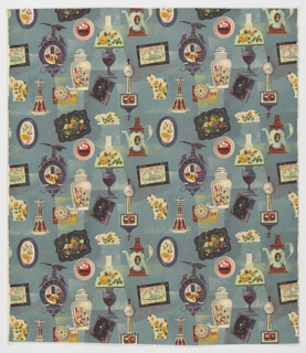 "Yard goods; a Riverdale Fabric, ""Heirlooms"" designed by Albert John Pucci of Associated American Artists, 1952."