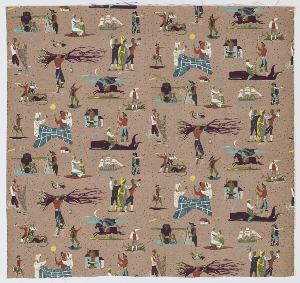 """Yard goods; cotton print in teal, purple, rust, olive, black, white, and lemon on a taupe ground, """"Pioneer Pathways"""" by Anton Refregier of Associated American Artists, a Riverdale Fabric, 1952."""