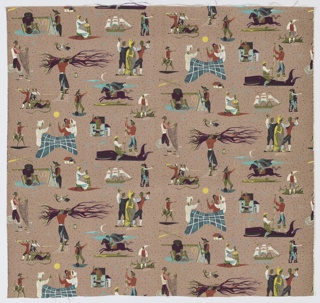 "Yard goods; cotton print in teal, purple, rust, olive, black, white, and lemon on a taupe ground, ""Pioneer Pathways"" by Anton Refregier of Associated American Artists, a Riverdale Fabric, 1952."