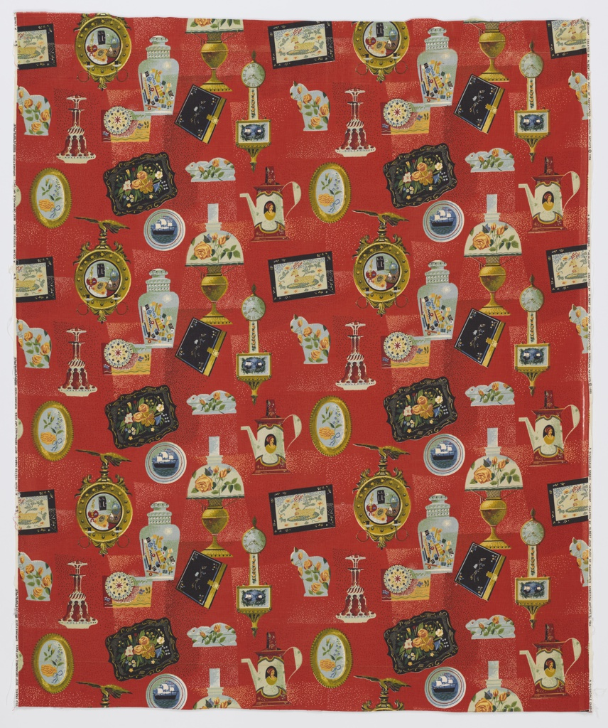 """Yard goods; a Riverdale Fabric, """"Heirlooms"""" designed by Albert John Pucci of Associated American Artists, 1952."""