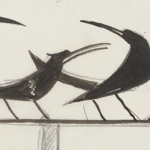 Design for a weathervane to be executed in iron. Upon the arrow, four black birds perched, each in various poses.