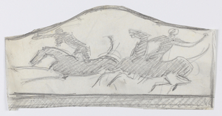 Design for a firescreen intended to be executed in iron. On an irregular sheet that curves upwards at center, a figural design depicting two polo players on horseback, each with one arm raised.