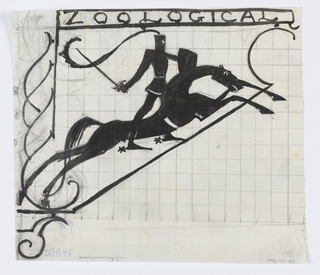 """Design for signpost to be executed in ironwork; an ornamental motif at left edge, the word """"ZOOLOGICAL"""" at top, and figure of a knight holding a sword on horseback below. Grid lines in graphite in background."""