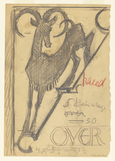 Design for signpost to be executed in iron, a figure of an ibex contained within a bracket.