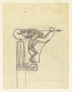Design for a zoo signpost to be executed in metal with a figure of a monkey, its tail forming decorative ornament. In the background, a numbered grid in graphite.