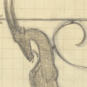 Design for signpost to be executed in ironwork with directional arrow facing left. Below, a horned ibex standing on an ornamental motif. Numbered grid lines in background.