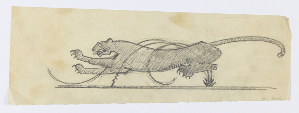 Design for a weathervane with a running leopard. The leopard's legs are raised from the ground and its tail elongated behind it. Stylized swirling lines overlap the leopard's body.