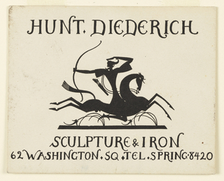 Business card with a figure of an archer on horseback; he faces towards the rear holding a large bow and a quiver of arrows. Printed text above and below.