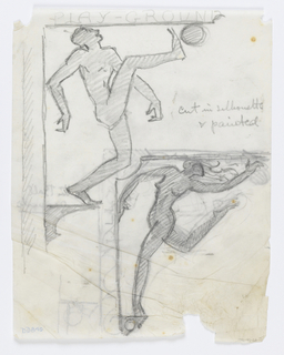Designs for signposts to be executed in metal showing alternate possibilities for a playground, each contained within a bracket. Above, a male figure kicking a ball; below, a woman dancing.