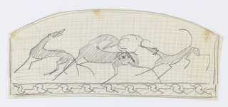 An arced drawing depicting two hounds and a stag on graphed paper. Ornamental border below.