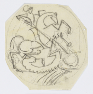 Design for a ceramic plate decorated with a scene of Saint George slaying a dragon with a long sword or lance.