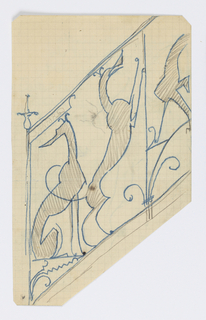 Design for ornamental stair rail to be executed in iron, the decoration made up of seated and standing greyhounds.