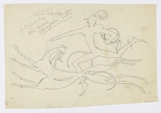 Design, possibly for a weathervane, featuring a man holding a spear and facing left, his right arm pointing ahead and his left leg raised high behind him. In his left arm, he holds a round hunting horn. At his feet, two elongated running hounds, their bodies overlapping.