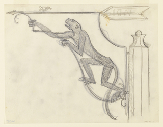 "Design for a zoo signpost to be executed in ironwork. Stylized monkey facing left climbing upward. Above, a directional arrow pointing left with a bird perched on top. Written on the tail feathers of the arrow: ""LION"""