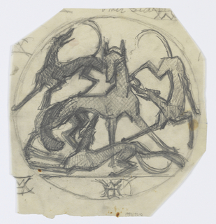 Sketch of a fox surrounded by three hounds enclosed within a circle.