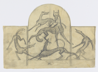 Design, possibly for a firescreen, to be executed in ironwork. Triptych composition with an arched form at center with the large fox surrounded by a circle of four hounds.