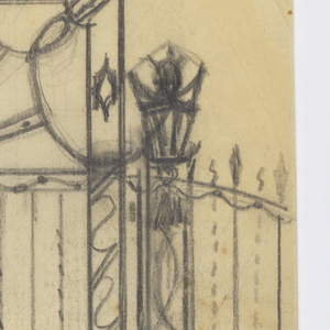 Design for a gate to be executed in iron, with ornamental grillwork throughout. At left and right posts, two lanterns.