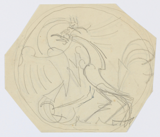Design for a ceramic plate with two overlapping roosters.