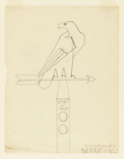 Linear design for a signpost showing a falcon or eagle perched on an arrow pointing right. Scale noted at lower right corner.