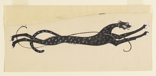 Drawn silhouette of an elongated leopard with white spots, its limbs and tail stretched outwards as it runs. An ornamental swirl laid over the cat's body.