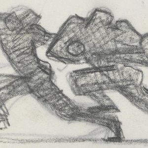 Group of three figures in silhouette playing football, the figure at center holding the ball, all in dynamic poses.