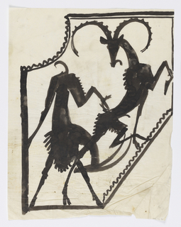 Within an irregular frame, a figure of a bucking pronghorn overlapping a figure of an antelope.