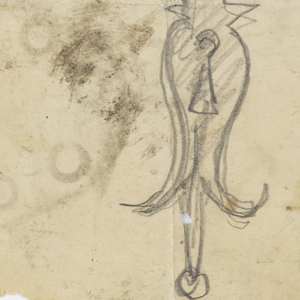 Two designs for keyplates to be executed in ironwork on an irregular sheet, each with ornamental motifs.