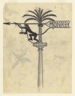"Design for a signpost/weathervane depicting a coconut palm with climbing monkey facing left below arrow. The word ""MONKEY"" on arrow's tail feathers. Additional sign reads ""BIRDS"" on a placard halfway up the pole. Verso: sketches of flying birds; monkey sign variants; at left center: ARTHD and at lower left, sketch of a bracket."