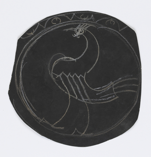 Circular sheet of black paper with a figure of a rooster at center surrounded by ornamental round border.