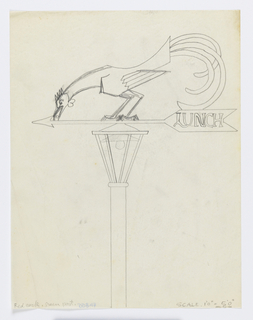 """Design for a lamppost with a weathervane mounted on top. On the rear of the arrow, the word """"LUNCH."""" Atop the arrow, a rooster crouching to eat."""