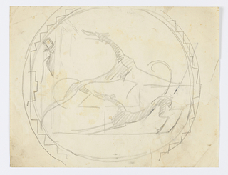 Circular design for a ceramic plate with an ornamental border. Within the plate, two barking hounds, one standing on stairs. At left, a figure in a top hat peers from behind a wall.